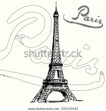 France, Paris - Eiffel tower  - stock vector