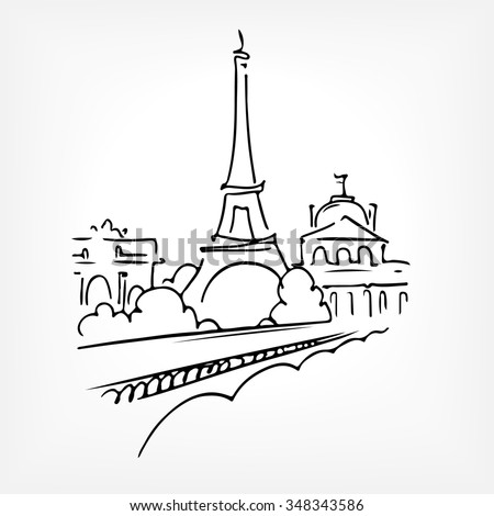 France. Paris. Eiffel tower. Vector line drawing sketch - stock vector