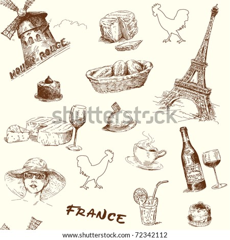 france-paris-hand drawn seamless wallpaper - stock vector