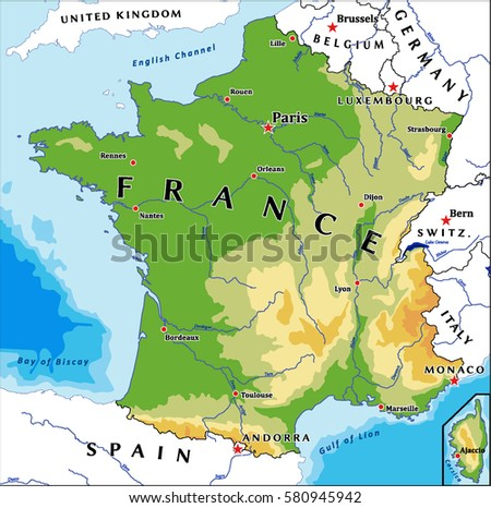 France Physical Vector Map Stock Vector 580945942 Shutterstock