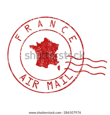 France post office, air mail, grunge rubber stamp on white background, vector illustration - stock vector
