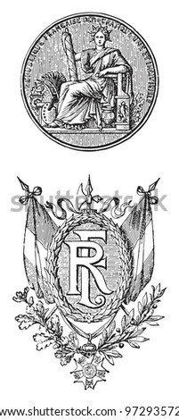 France seal and emblem / vintage illustration from Meyers Konversations-Lexikon 1897 - stock vector