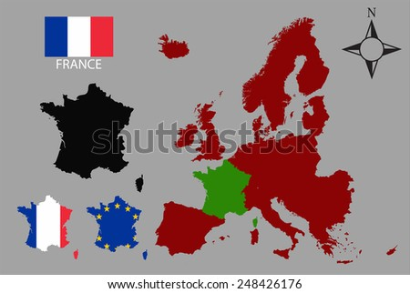 France - Three contours, Map of Europe and flag vector - stock vector