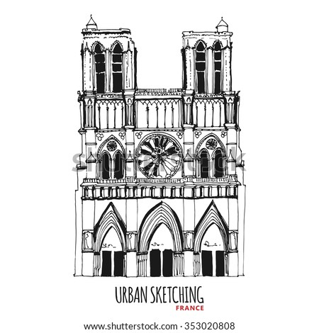France Urban Sketch Paris Parvis Notre Dame Historical Building Hand Drawn Vector