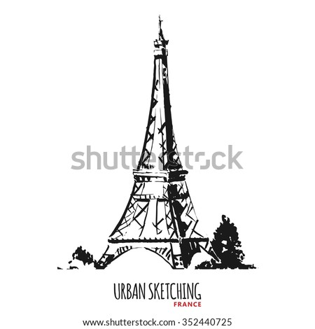 Connu France Urban Sketch Paris Tour Eiffel Stock Vector 352440725  GO43