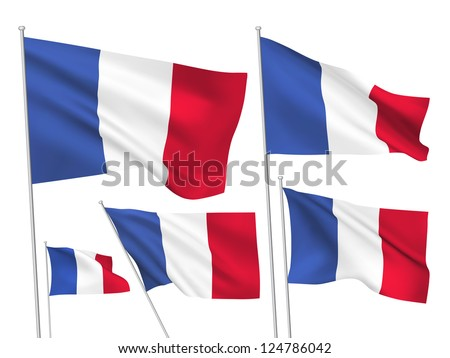 France vector flags. A set of 5 wavy 3D flags created using gradient meshes. - stock vector