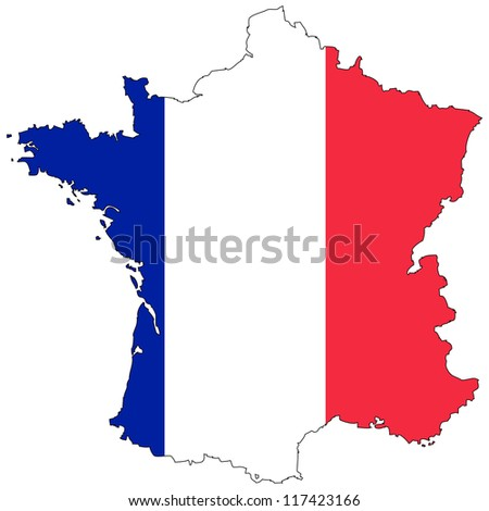 France vector map with the flag inside. - stock vector