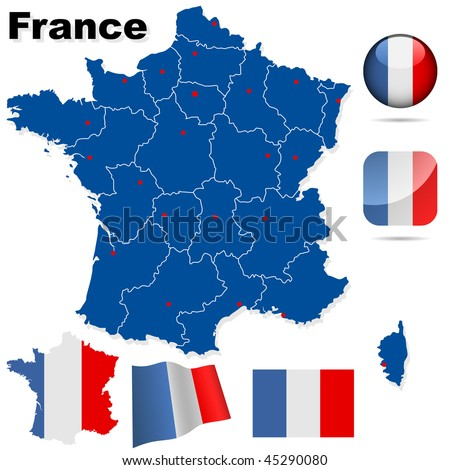 France vector set. Detailed country shape with region borders, flags and icons isolated on white background. - stock vector