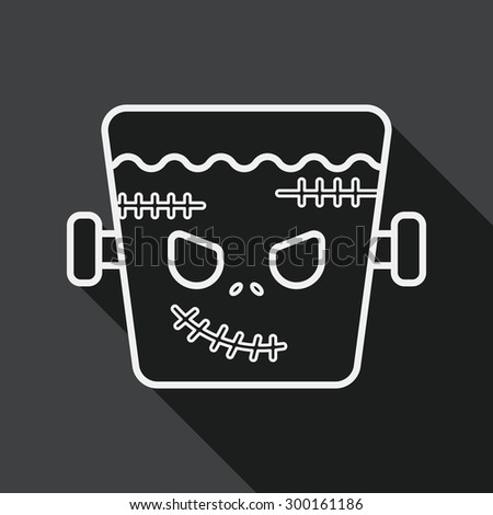 Frankenstein flat icon with long shadow, line icon - stock vector