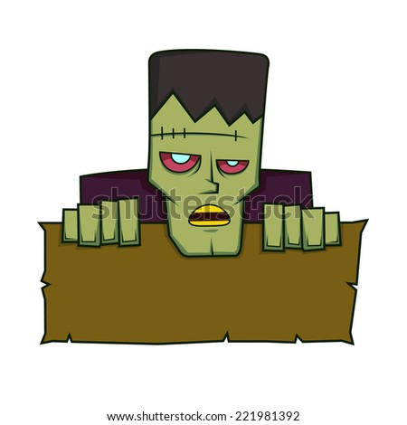 Frankenstein holding a blank sign - stock vector