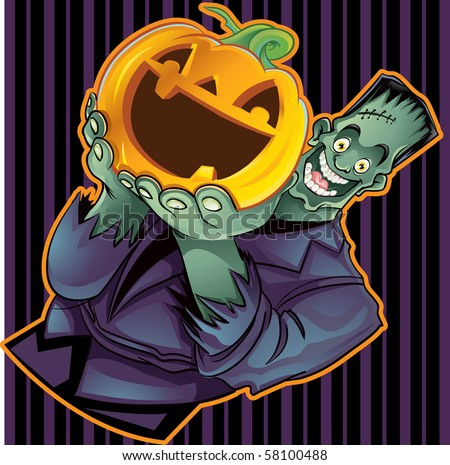 Frankenstein Holding a Pumpkin with Wallpaper - stock vector