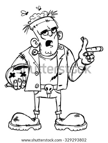 Frankenstein Monster Cartoon Character With Pumpkin In Rough Sketch Style Black And White Isolated