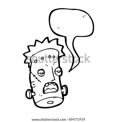 frankenstein's monster cartoon with speech bubble - stock vector