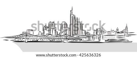 Frankfurt Main Downtown Outline Sketch. Hand Drawn Vector Illustration. - stock vector