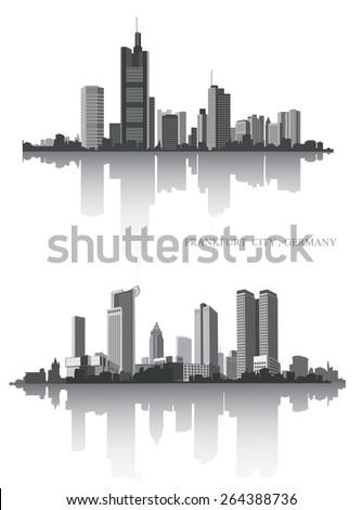 Frankfurt on the river. Urban panorama. Vector set.  - stock vector