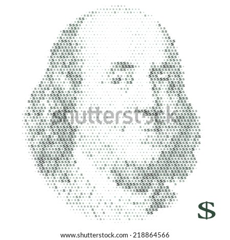 Franklin portrait with dollar simbols. vector illustration - stock vector