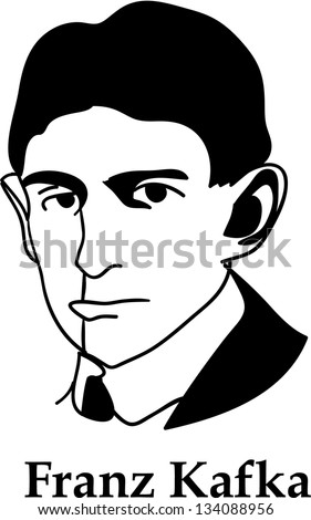 Franz Kafka - black and white (vector) - stock vector