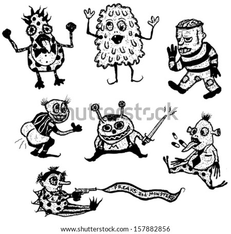 Freaks And Monsters Set/ Illustration of a set of doodle hand drawn halloween holidays and horror freaks monsters and creatures - stock vector