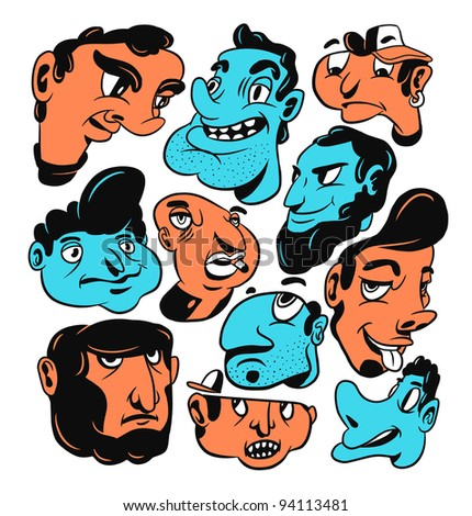 Freaky faces. Hand-drawn vector illustration. - stock vector