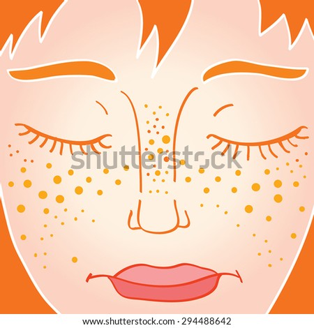 Freckled young woman face with closed eyes. Cartoon illustration of freckled girl face with closed eyes. Pop art girl. Natural beauty concept. Sleeping woman. Vector. Eps 10. - stock vector