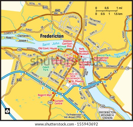 Fredericton New Brunswick Area Map Stock Photo Photo Vector