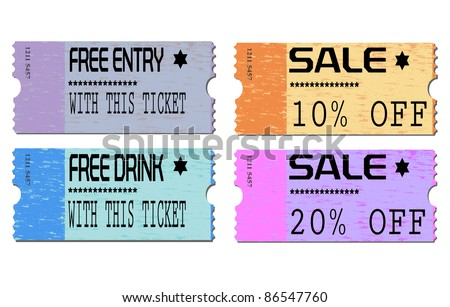 Free admission and sale ticket Illustrations