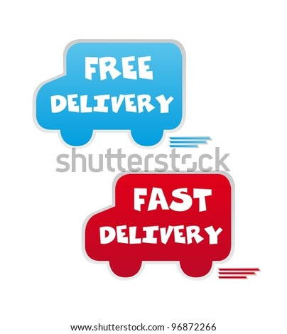 free and fast delivery icons over white background. vector - stock vector
