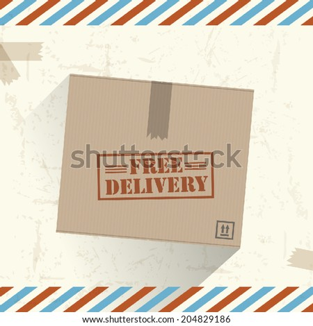 Free delivery box - stock vector