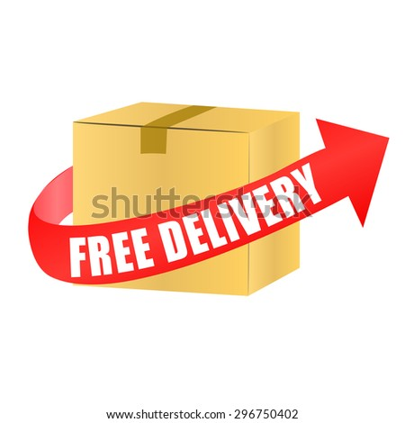 free delivery box with red arrow - stock vector