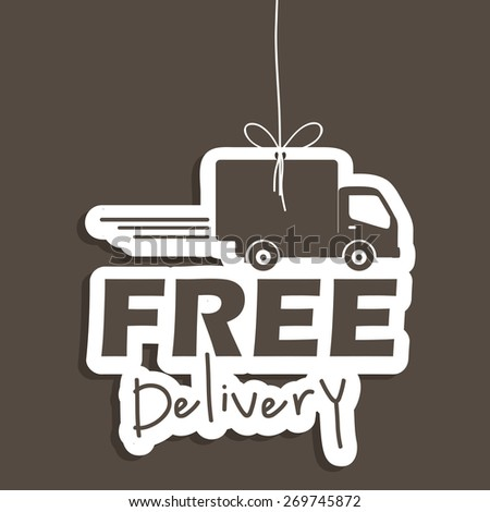 Free delivery design over grey background, vector illustration - stock vector