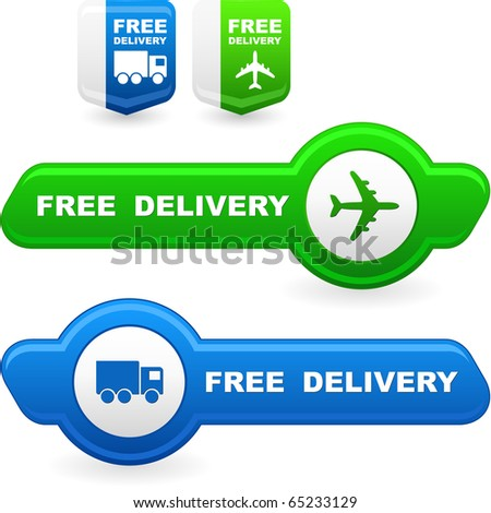 Free delivery elements for sale - stock vector