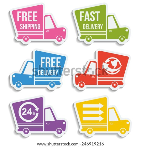Free delivery, fast delivery, free shipping, around the world, around the clock colorful logo icons set with blend shadows on white background. Vector. - stock vector