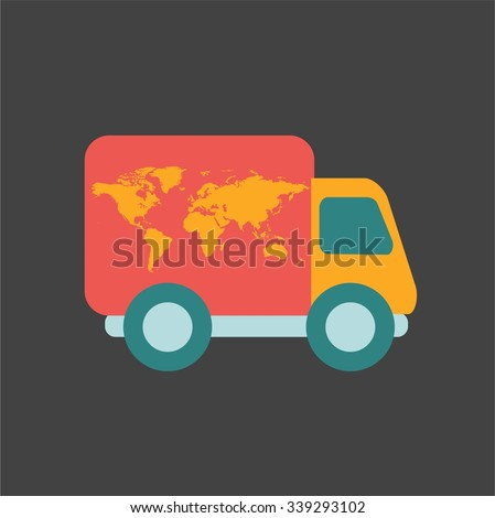 Free delivery, fast delivery, free shipping, around the world,  colorful logo icon set on black background - stock vector