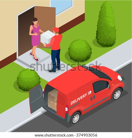 Free delivery, Fast delivery, Home delivery,  Free shipping, 24 hour delivery, Delivery Concept, Express Delivery, delivery man. Flat 3d vector isometric illustration - stock vector