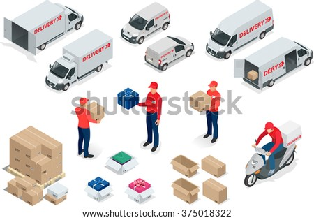 Free delivery, Fast delivery, Home delivery, Free shipping, 24 hour delivery, Delivery Concept, Express Delivery, delivery man, delivery Flat, delivery 3d, delivery vector isometric illustration - stock vector