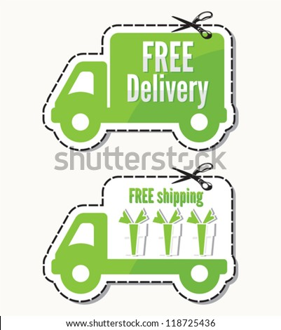 Free delivery, free shipping labels - stock vector