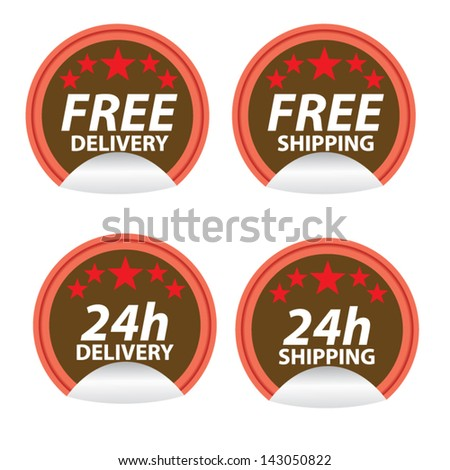 Free delivery, free shipping labels. Vector. - stock vector