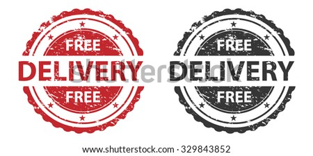 Free Delivery Grunge Stamp Red and Black Isolated on white