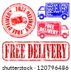 Free delivery grungy rubber stamp vector illustrations - stock photo