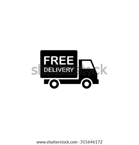 free delivery icon, shipping truck isolated on white background. vector illustration - stock vector