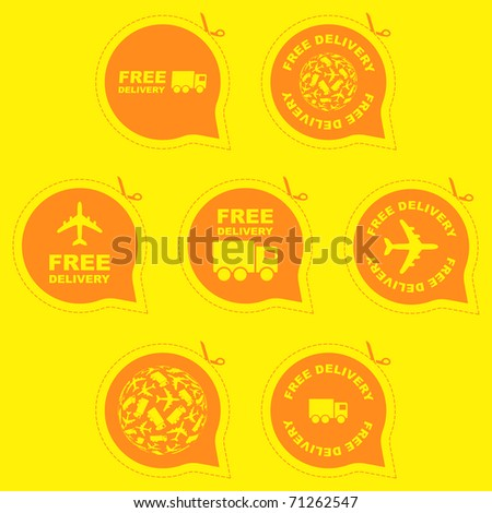 Free delivery signs for sale - stock vector