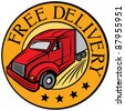 free delivery truck (Free delivery icon, emblem, design, badge, delivery truck) - stock vector