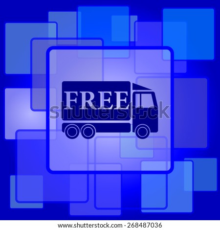 Free delivery truck icon. Internet button on abstract background.  - stock vector