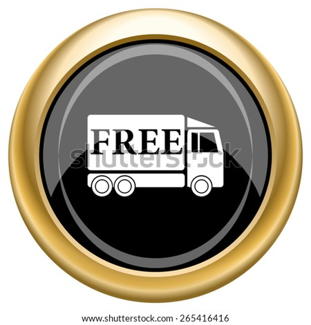 Free delivery truck icon. Internet button on white  background. EPS10 Vector.  - stock vector