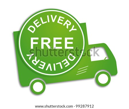 Free delivery truck in green for transportation business - stock vector