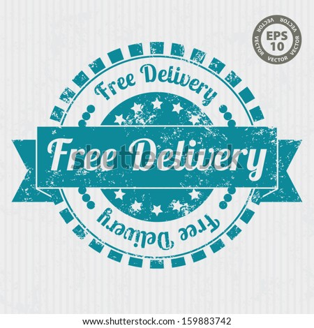 Free Delivery Vintage Stamp with grunge and blue color - Vector - stock vector