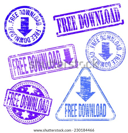 Free download stamps. Different shape vector rubber stamp illustrations  - stock vector