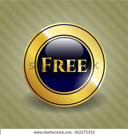 Free golden emblem or badge - stock vector
