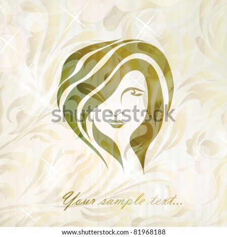 Free hand drawing abstract face of beautiful romantic girl isolated on floral background with your text (vector version eps 10). Perfect for sign, symbol, icon, web, emblem, label, logotype, logo. - stock vector