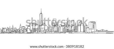 Free hand sketch of New York City skyline. Vector Outline Scribble - stock vector